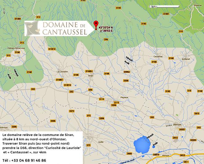 Plan d'accès au Domaine de Cantaussel en Minervois